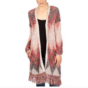 LUCKY BRAND Chevron Long Cardigan Duster Sweater S